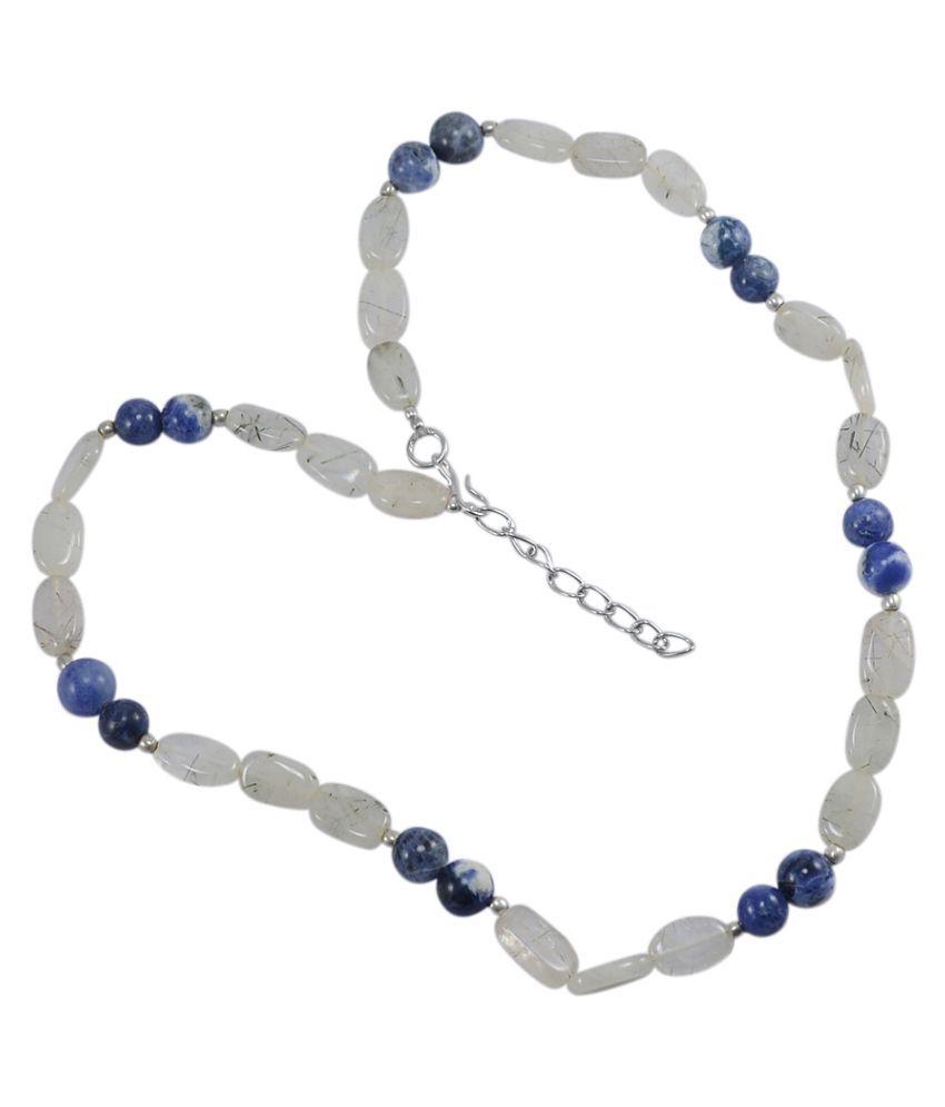 Silvesto India Sodalite & Rutile Quartz Gemstone Necklace PG-125301