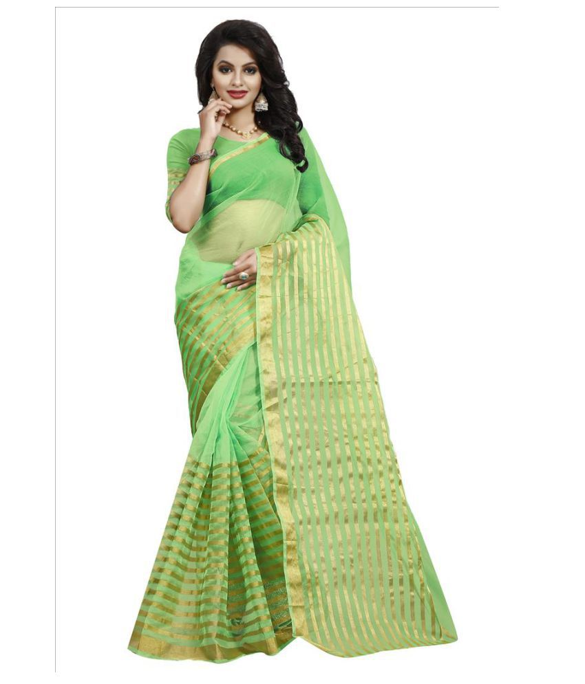 Dharma Products Green Cotton Silk Saree