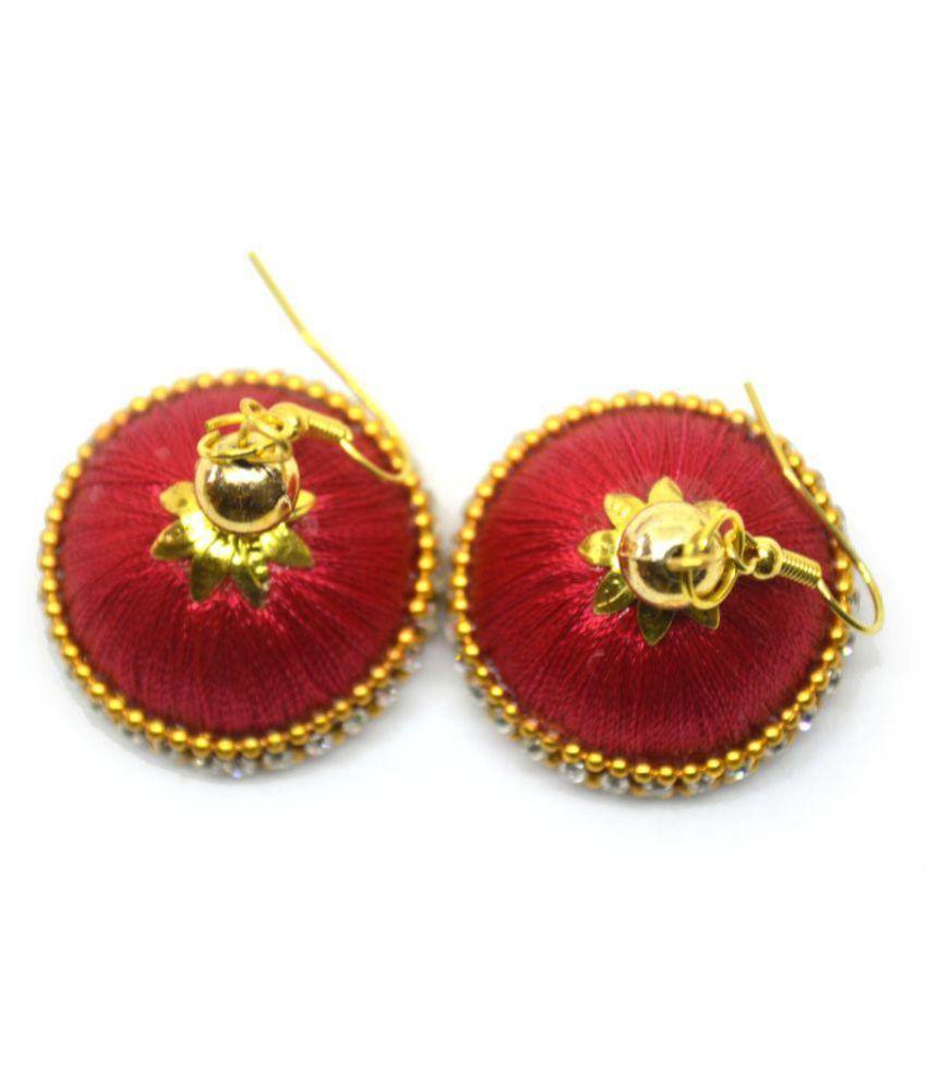 d7dbb8655 DarkLady Silk Thread Jhumka-Drop Earring Red & Golden Glossy Finish  Bead  Work For Women & Girls - Buy DarkLady Silk Thread Jhumka-Drop Earring Red &  Golden ...