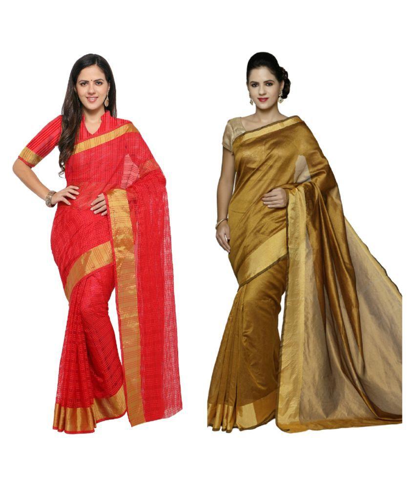 sarvagny clothing Multicoloured Silk Saree Combos