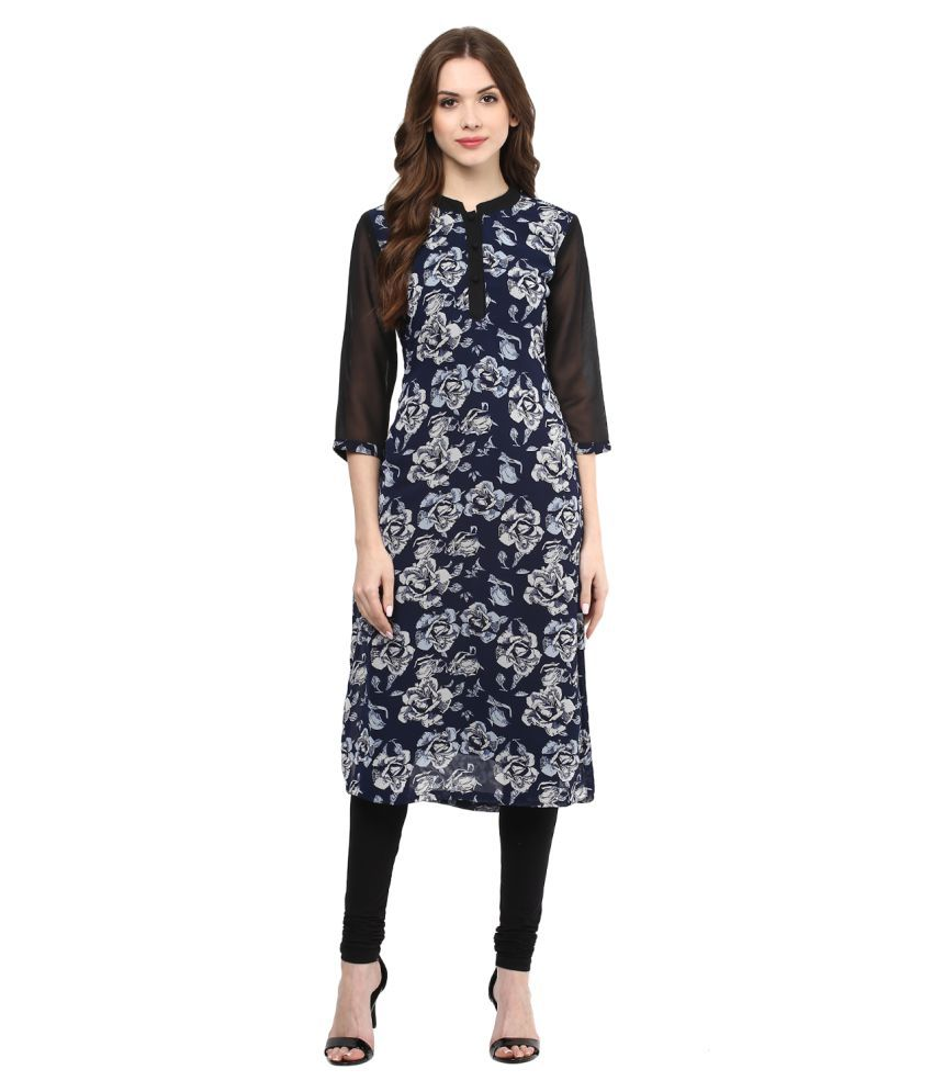 Harshaya G BLACK Georgette A-line Kurti