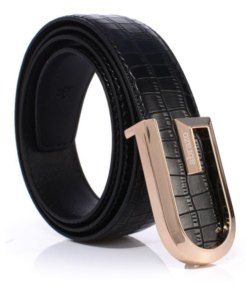 Abrazo Black Faux Leather Casual Belt