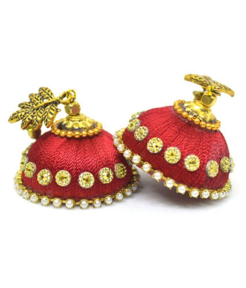 DarkLady Silk Thread Jhumka-Drop Earring Orange Glossy Finish| Bead Work For Women & Girls