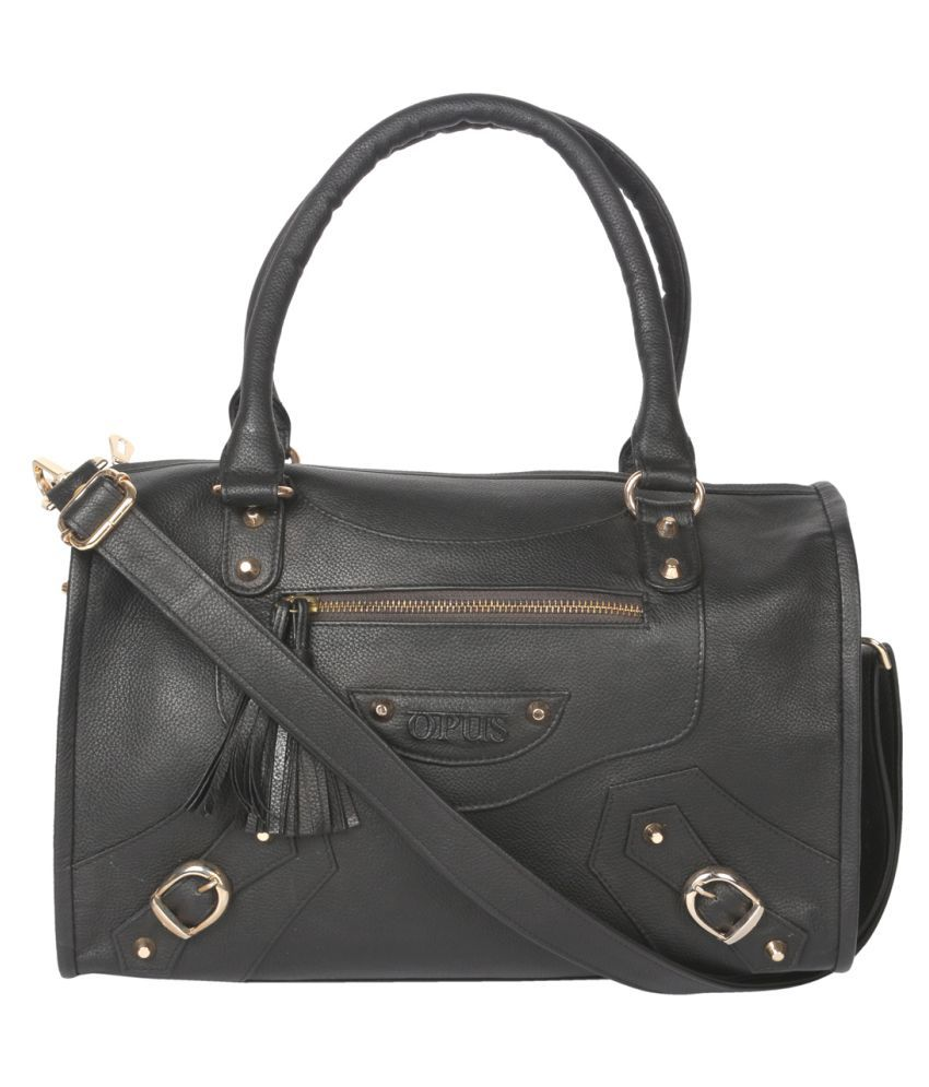 JL Collections Black Pure Leather Shoulder Bag