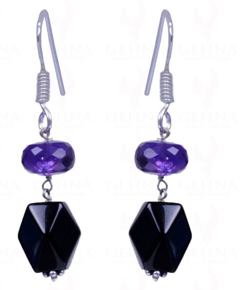 BLACK SPINEL & AMETHYST GEMSTONE EARRINGS MADE IN .925 STERLING SILVER