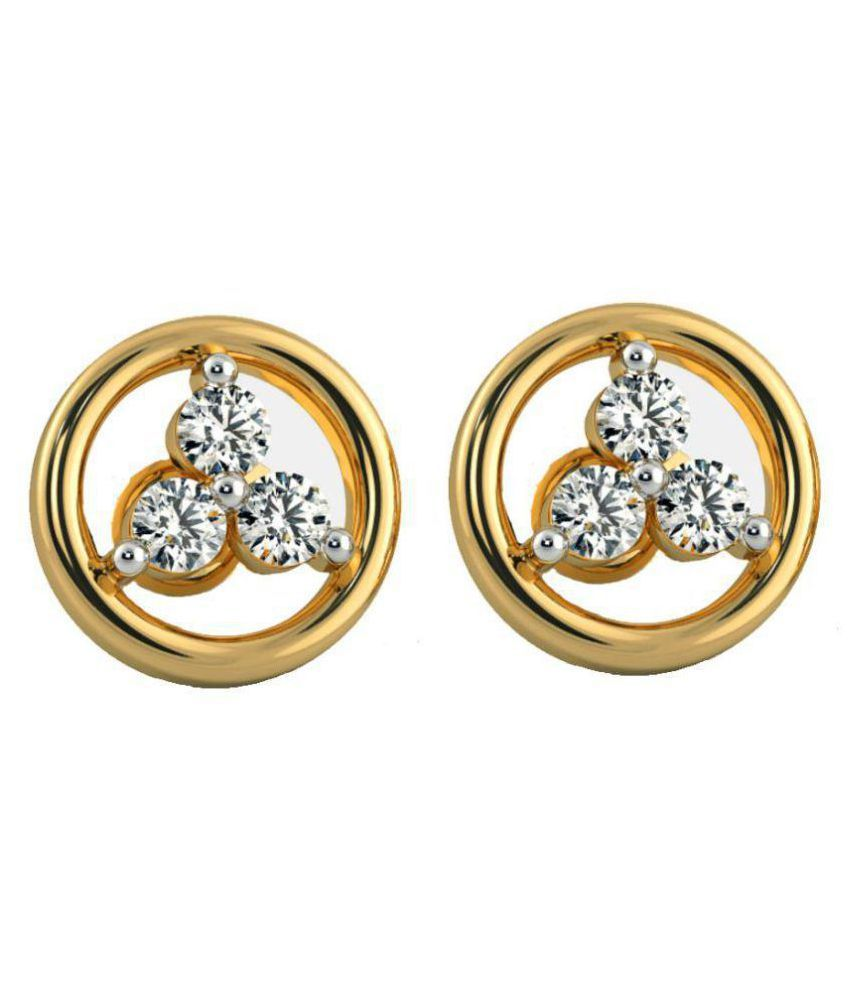 Kaizer Jewelry Alloy Gold Plating American diamonds Studded Gold Coloured Earrings