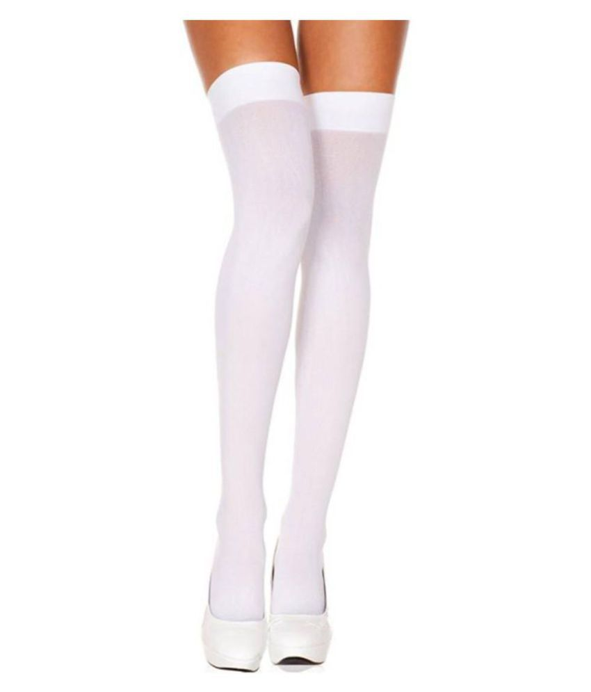 Fashion Guru Trading White Super Fit Stocking For Girls Pack of 1