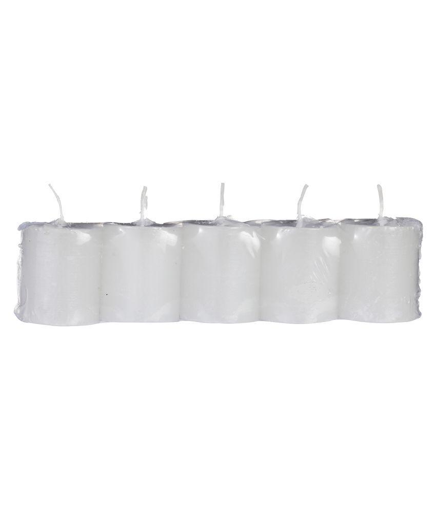 Klik2 White Pillar Candle - Pack of 5