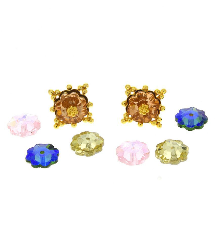Anuradha Art Golden Finish Studded With Multi Colour Beautiful Crystals Very Classy Attractive Changeable Ear Studs For Girls/Women