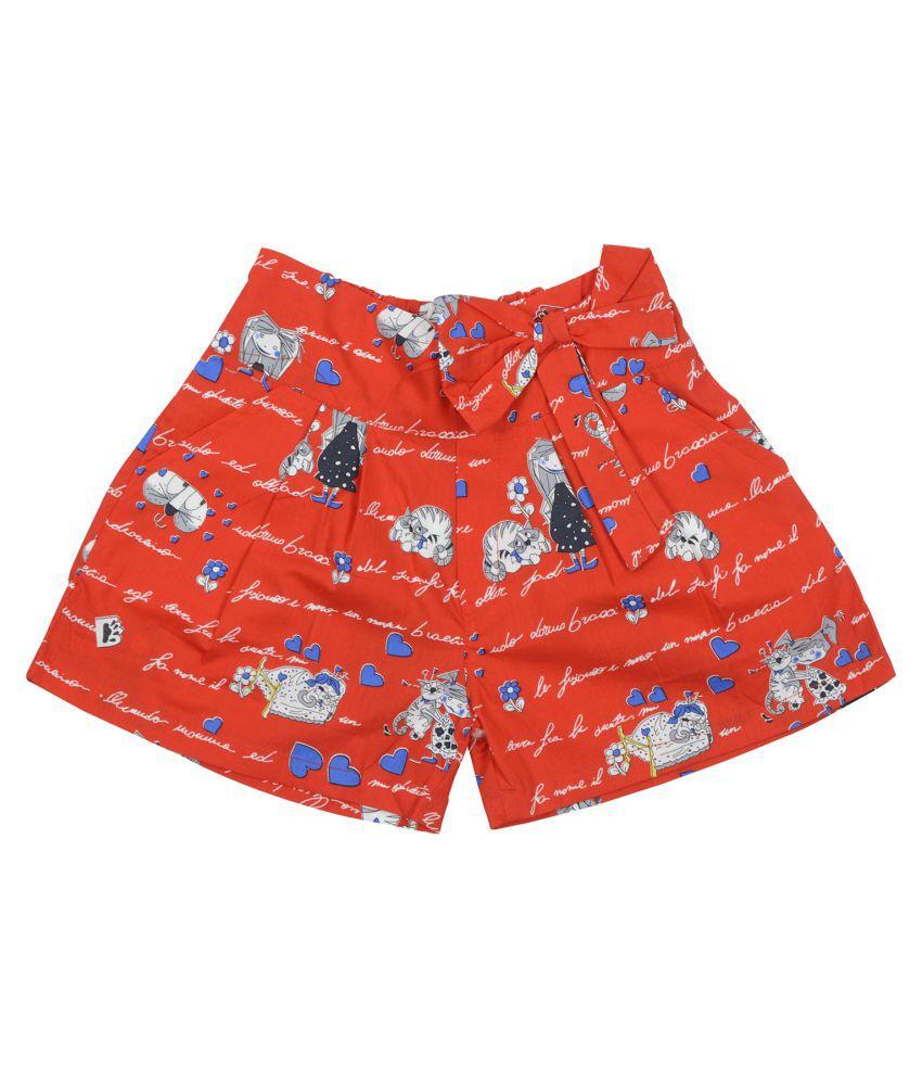 Carrel Cotton Fabric Girls Red Short