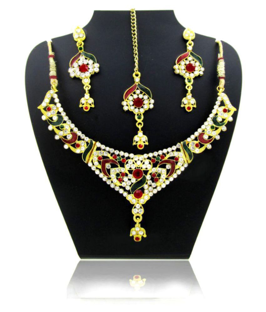 Jeweltech Multicolour Necklace Set with Maang Tika