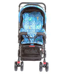 Mee Mee Baby Pram with Adjustable Seating Positions and Reversible Handle (Dark Blue)