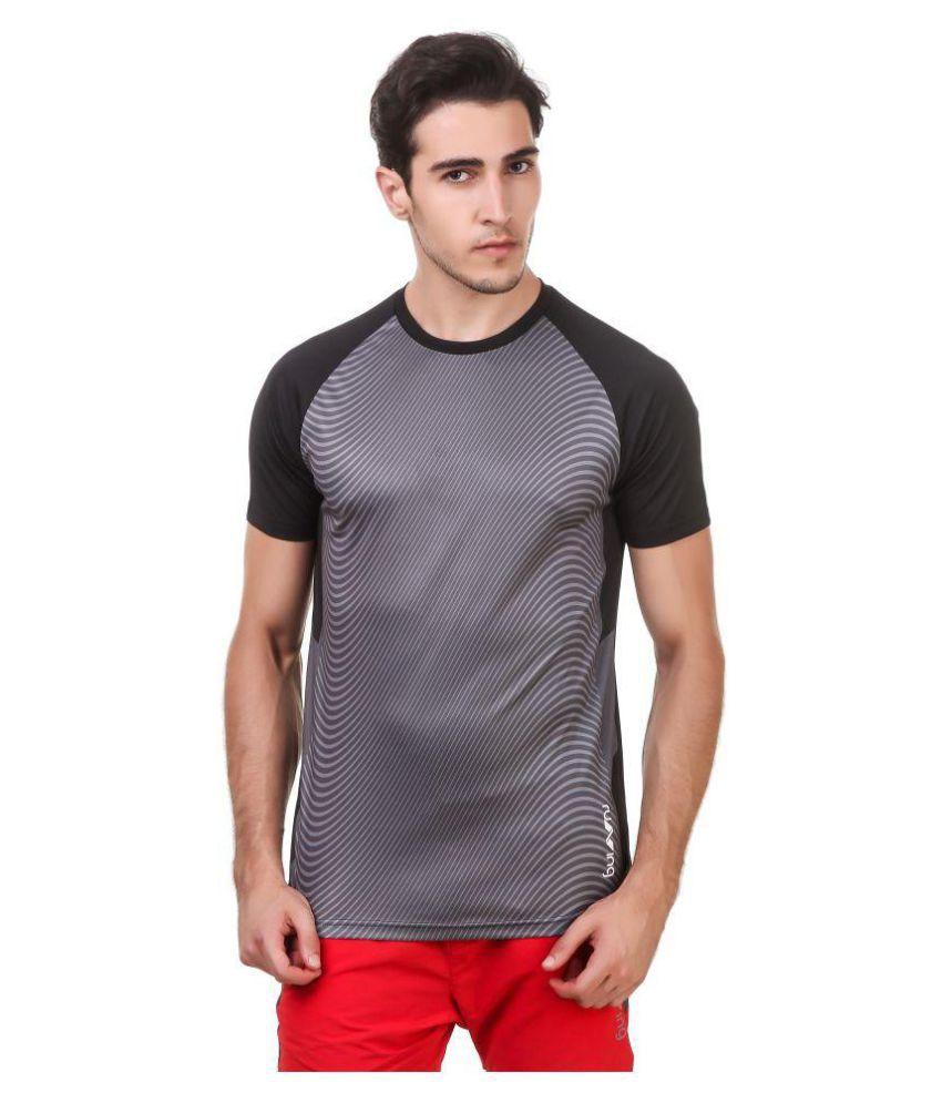 Nivia Black Polyester T-Shirt