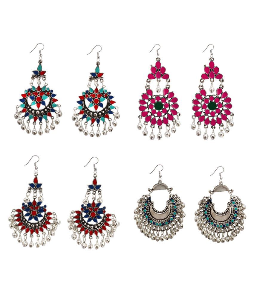 Bollywood fashion indian ethnic style jhumki pair or Multicolor earrings Jewellery Combo for Elegant Fashion Women and Girls ( Pack of 4 )