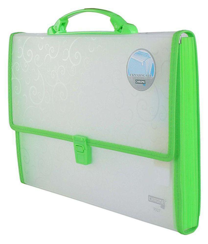 Chrome 9327 Expanding File Handle & Lock - 13 Pockets (Green)