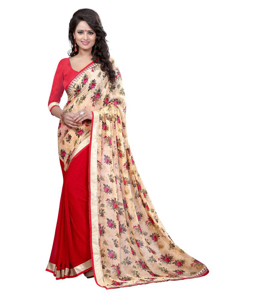 Priya Fashion Red Georgette Saree