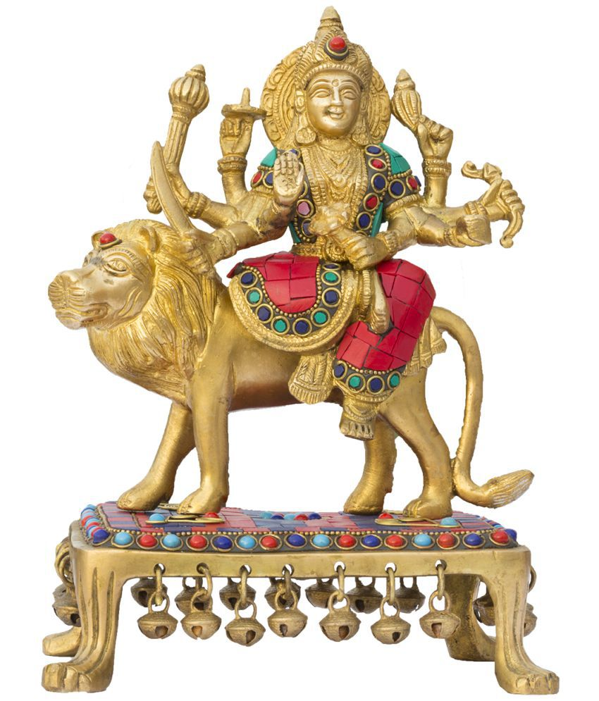 ISHVENA Durga Brass Idol