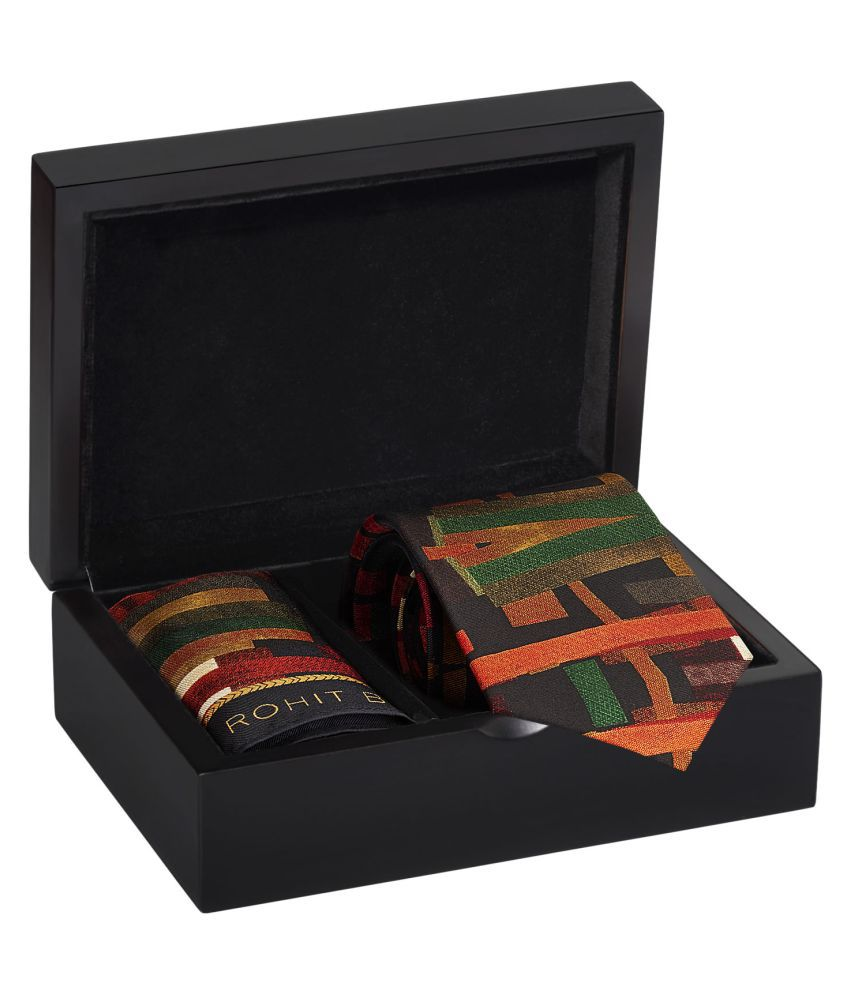 Rohit Bal Brown Abstract Print Silk Tie & Pocket Square
