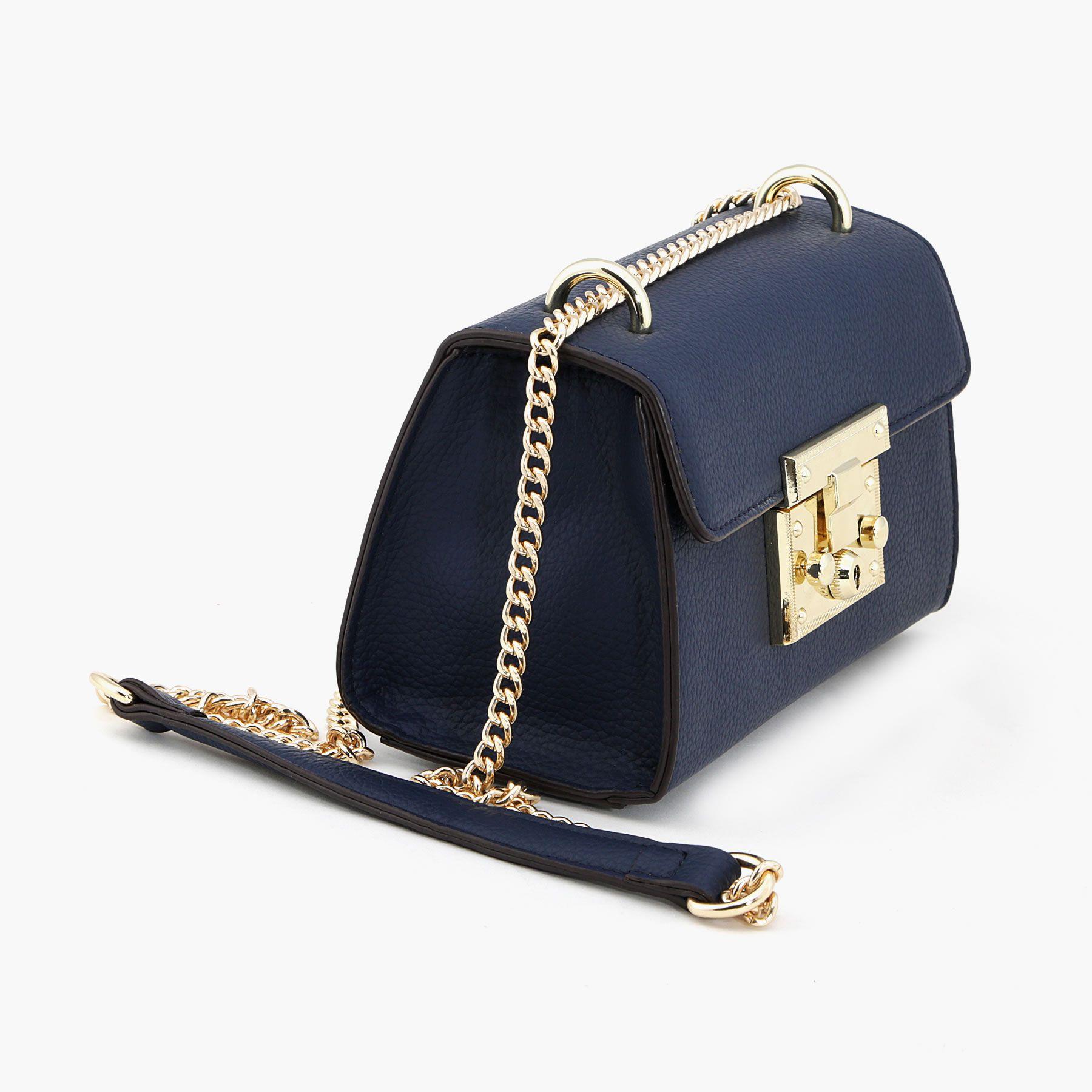 Vajero Blue Pure Leather Box Clutch