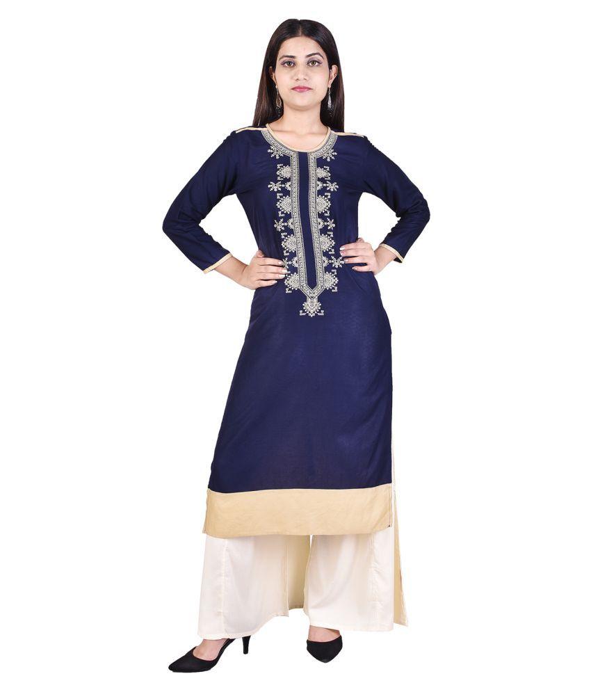 Adesa Blue Cotton Straight Stitched Suit