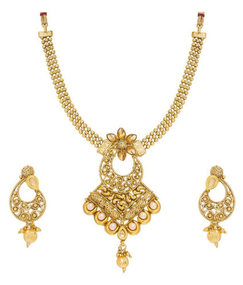 Aadita Fashion Jewellery Traditional Ethnic Pearl Studded Bridal Necklace Set with Earrings