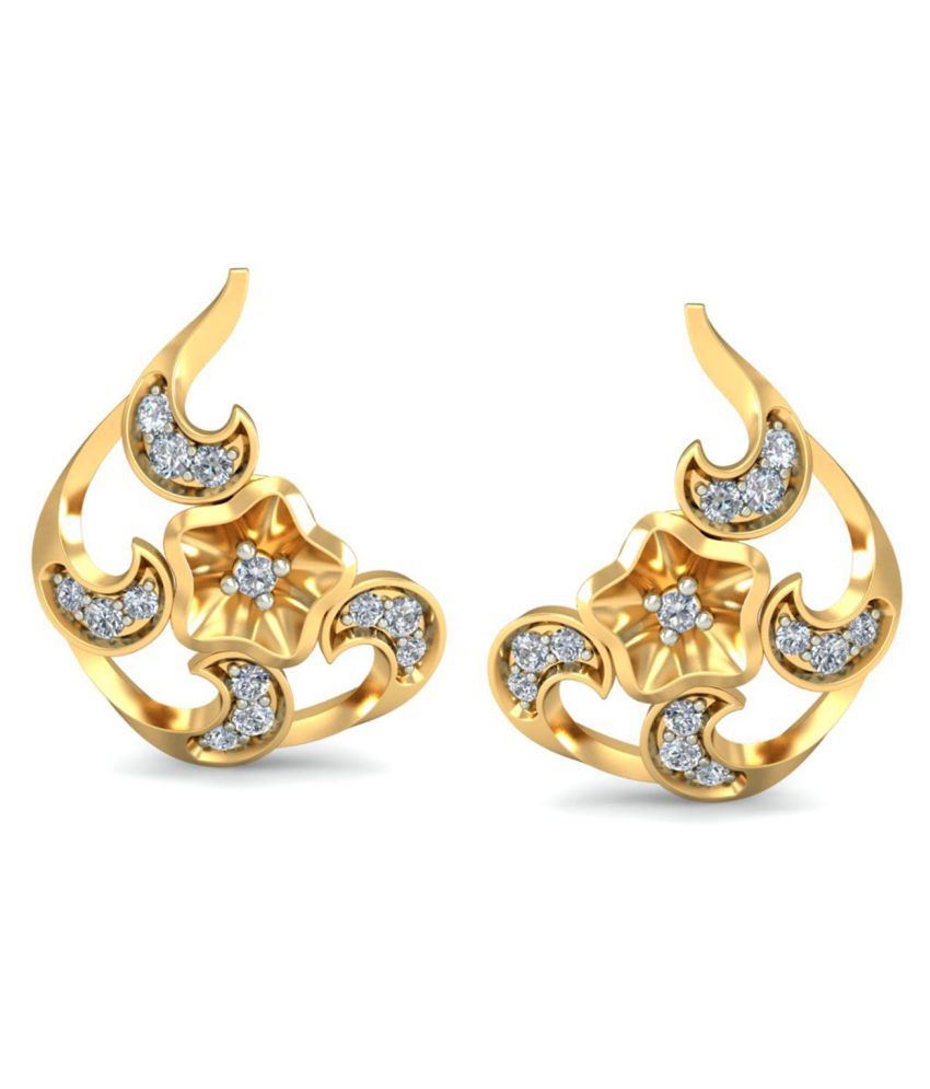 Glitterati By Asmi 18k BIS Hallmarked Gold Diamond Studs