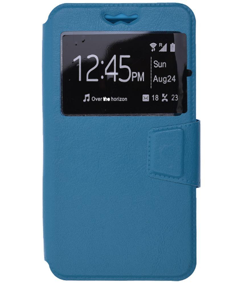 Micromax Canvas Turbo Mini A200 Flip Cover by Shopme - Blue