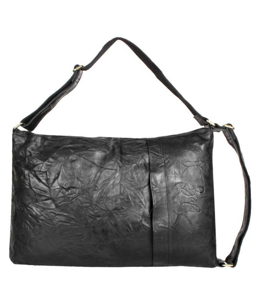 Rohit Bal Black Leather Casual Messenger Bag
