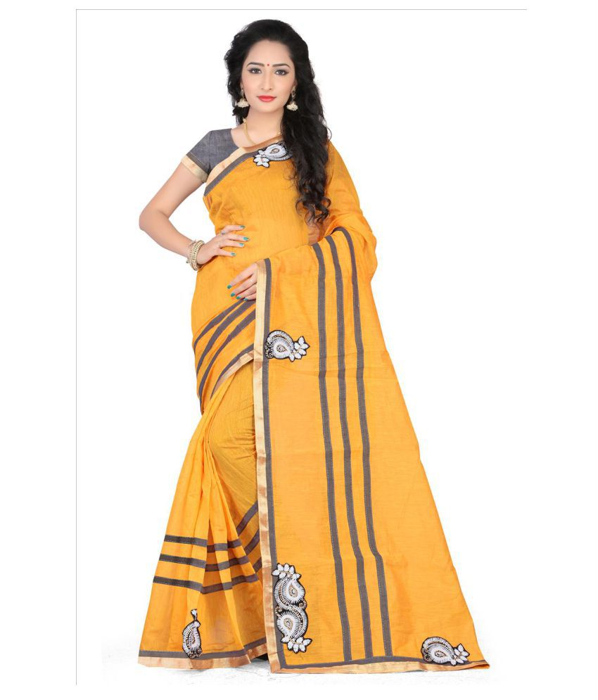 Dharma Products Yellow Chanderi Saree