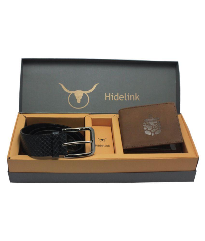 Hidelink Multi Leather Belts Wallets Set Belts