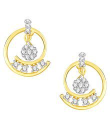 VK Jewels Well Crafted Gold and Rhodium Plated Alloy CZ American Diamond Stud Earrings for Women [VKER1759G]