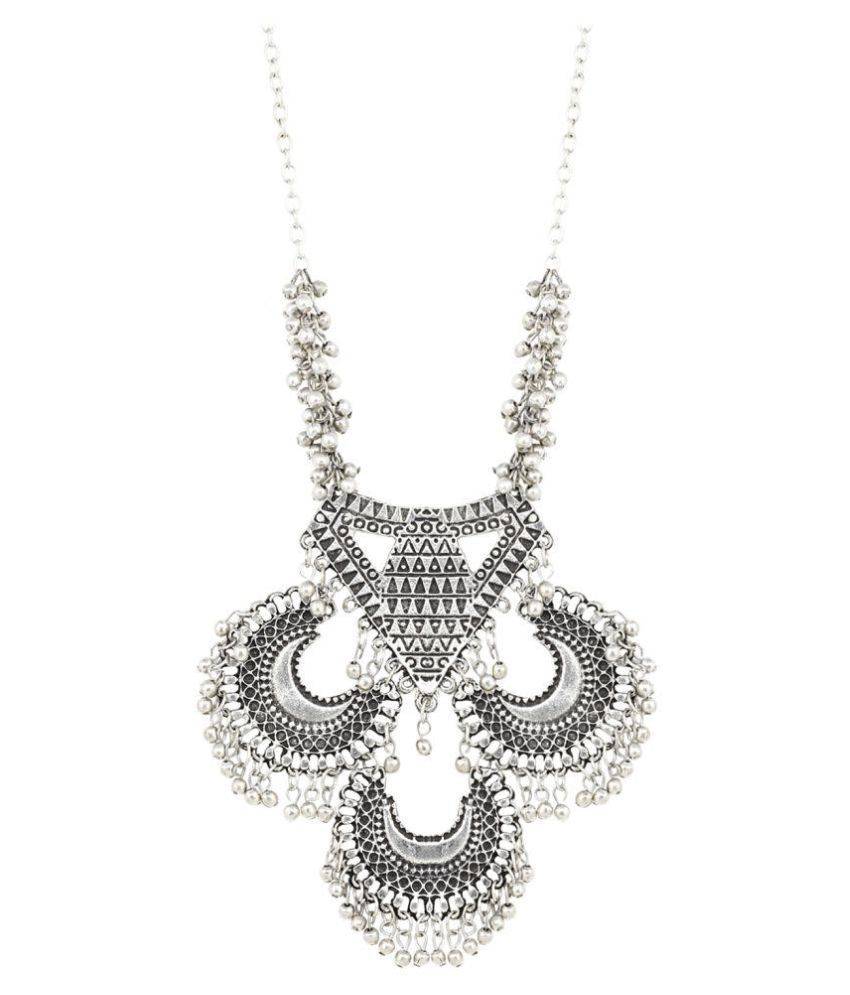 Aradhya Designer High Quality Russain Silver Necklace for Women and Girls