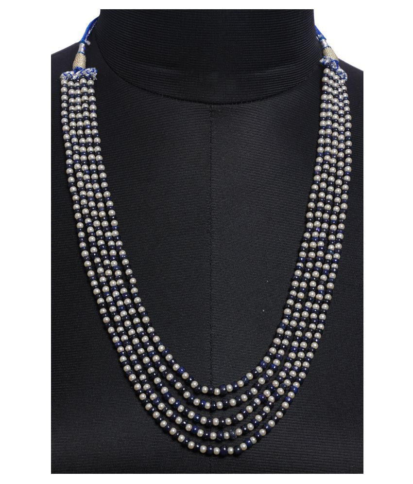 5 Rows of Pearl & Blue Sapphire Gemstone Bead Necklace