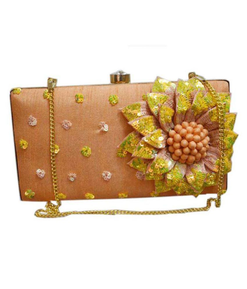 Falah Orange Fabric Box Clutch
