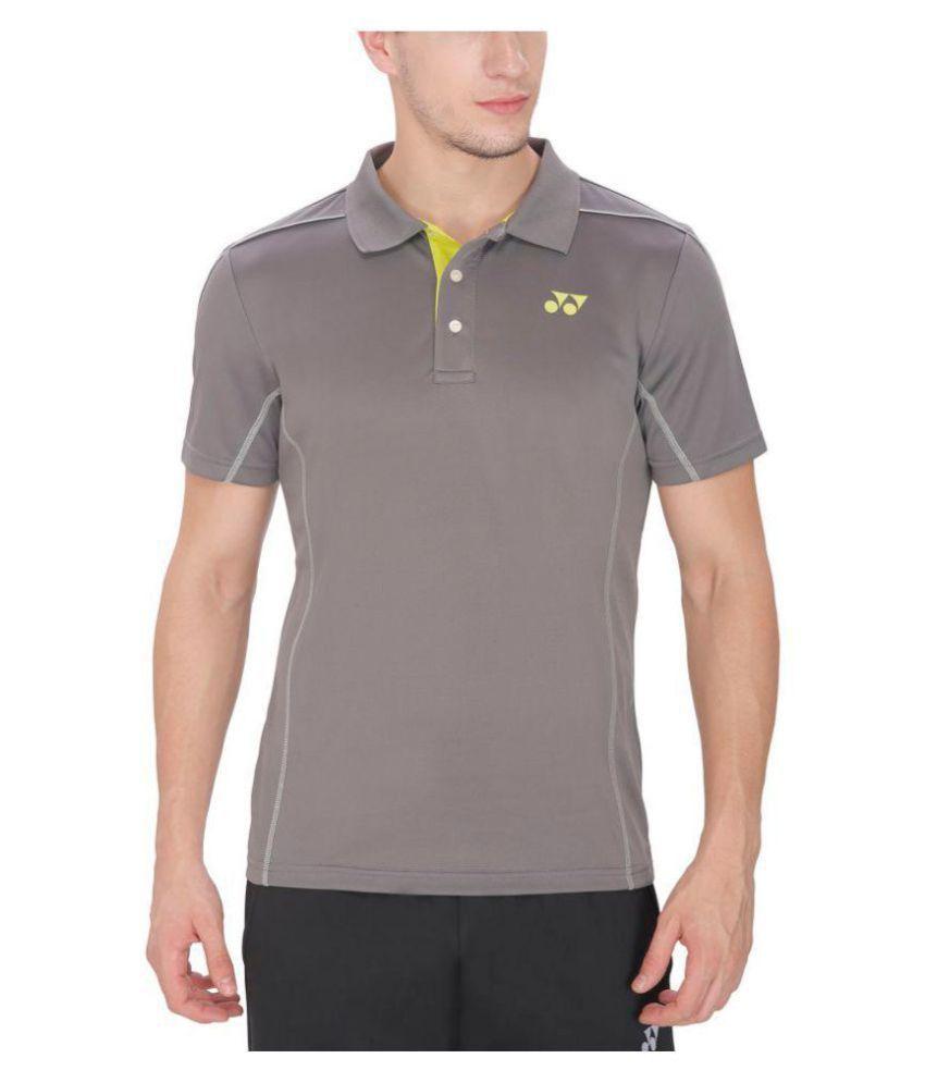 Yonex Grey Polyester Polo T-Shirt