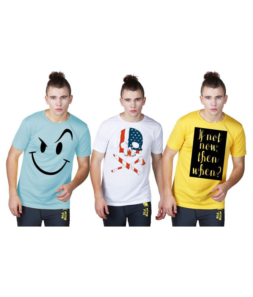 Essenze Multi Polyester T-Shirt Pack of 3