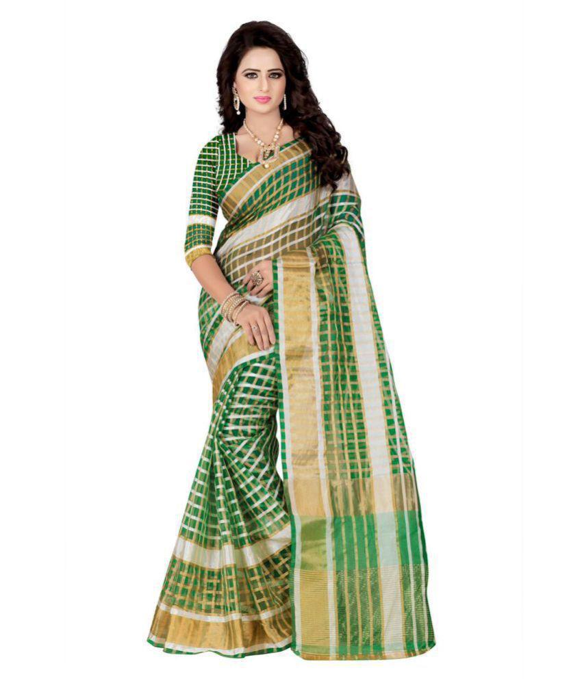 Yashika Sarees Green Cotton Silk Saree