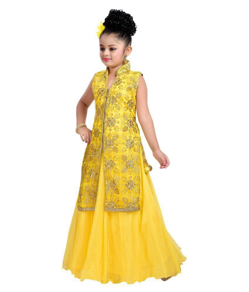Aarika Yellow Satin Gown - Buy Aarika Yellow Satin Gown Online at ...