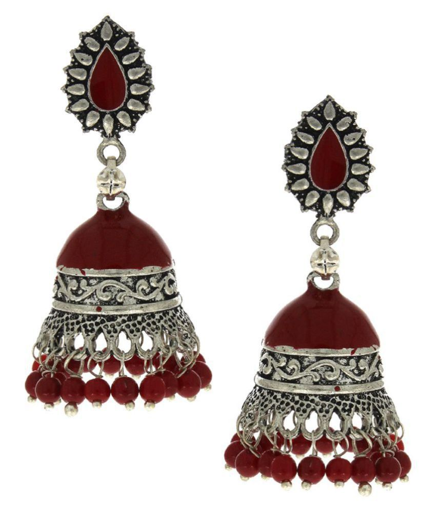 Anuradha Art Maroon Colour Very Classy & Pretty Look Traditional Jhumkas/Jhumki For Girls Women
