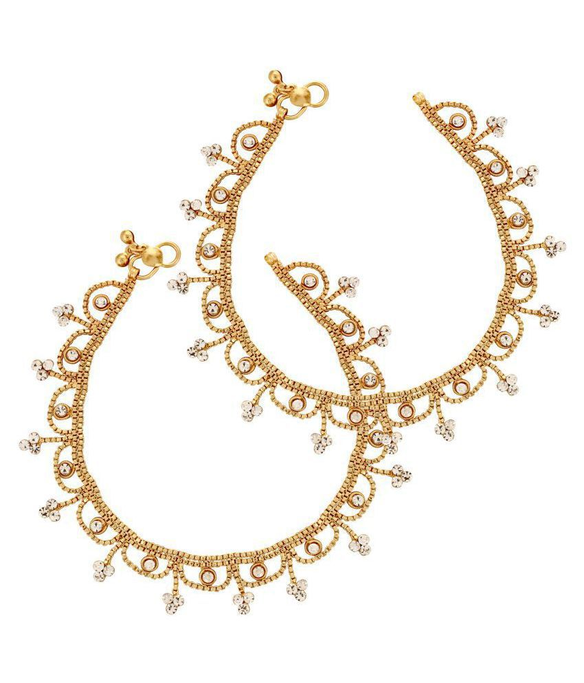 Chic Golden Stylish Anklet Pair for women & Girls Traditional