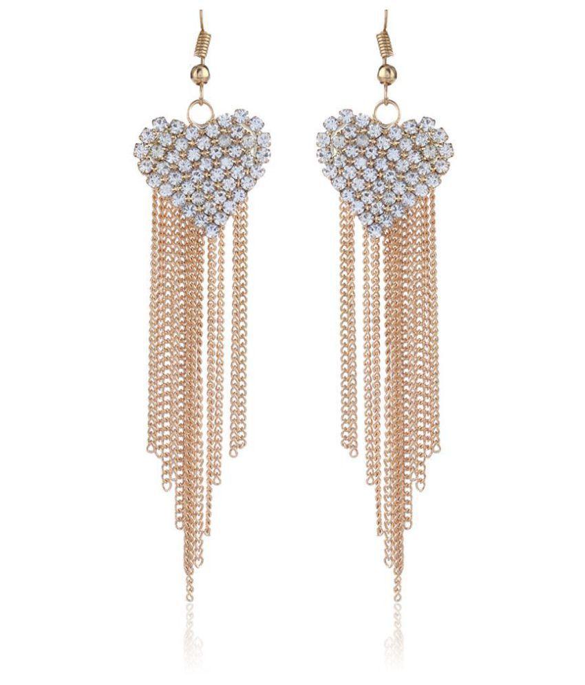 Fasherati  Rhinestone Love Heart Party Long Tassels Rhinestone Hook Dangle  Earrings For Women