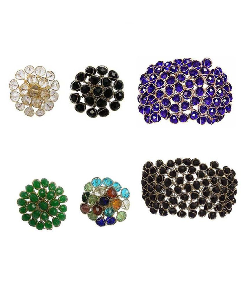 Jewels Gold Alloy Party Wear & Wedding Traditional Stone Fancy Designer Combo 2 Bracelets 4 Ring For Women & Girls (Adjustable)