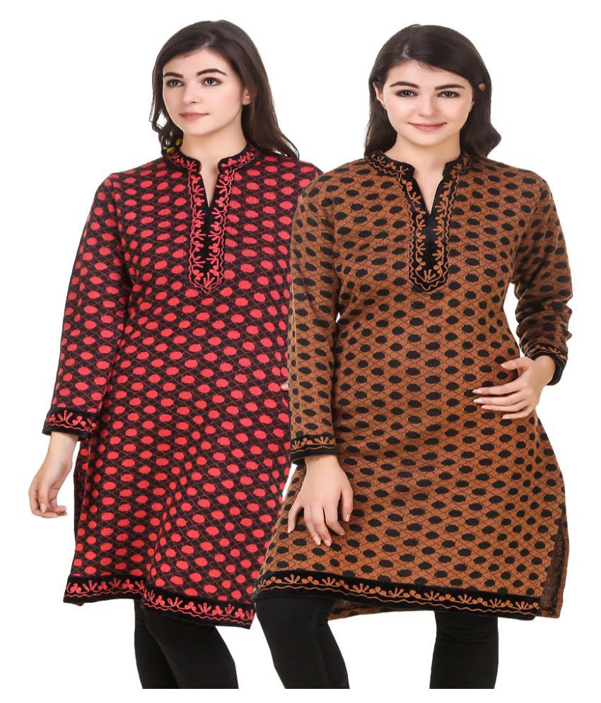 KRITIKA WORLD Multicoloured Woollen Straight Kurti