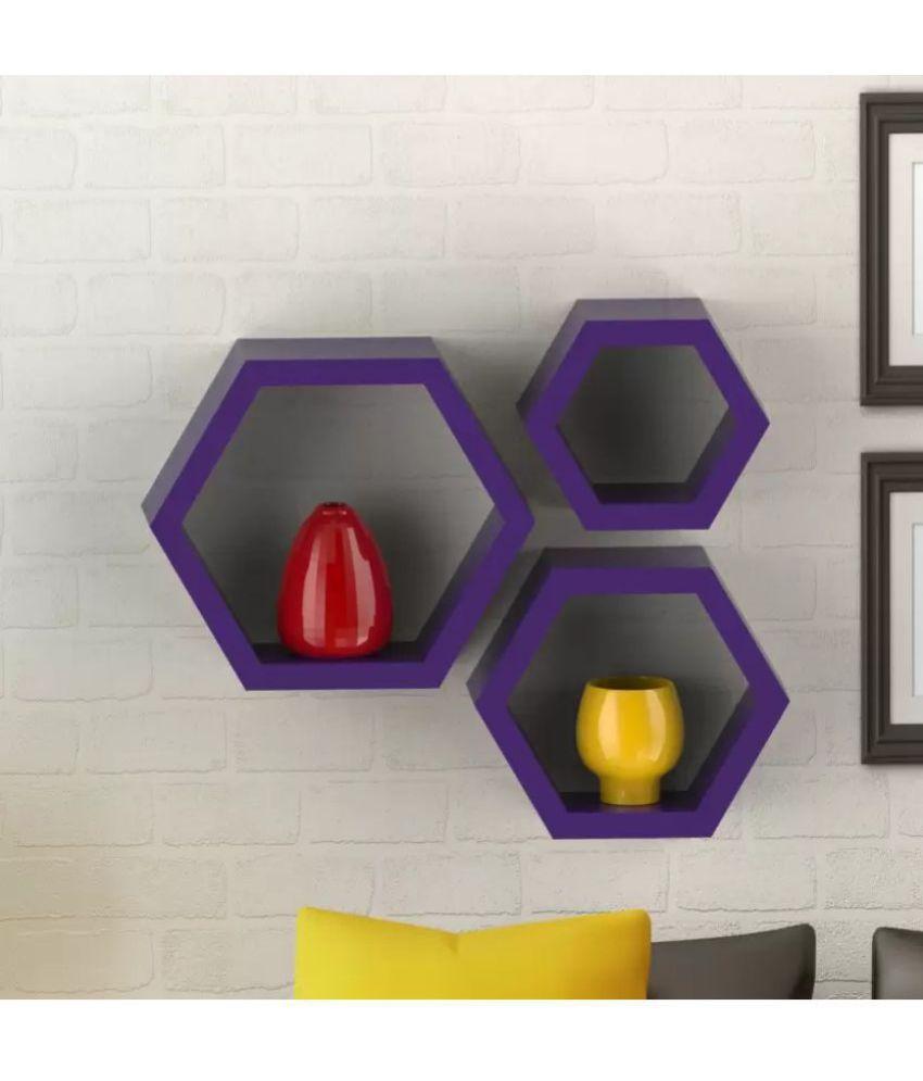 Onlineshoppee Floating Shelf/ Wall Shelf / Storage Shelf/ Decoration Shelf Purple - Pack of 3