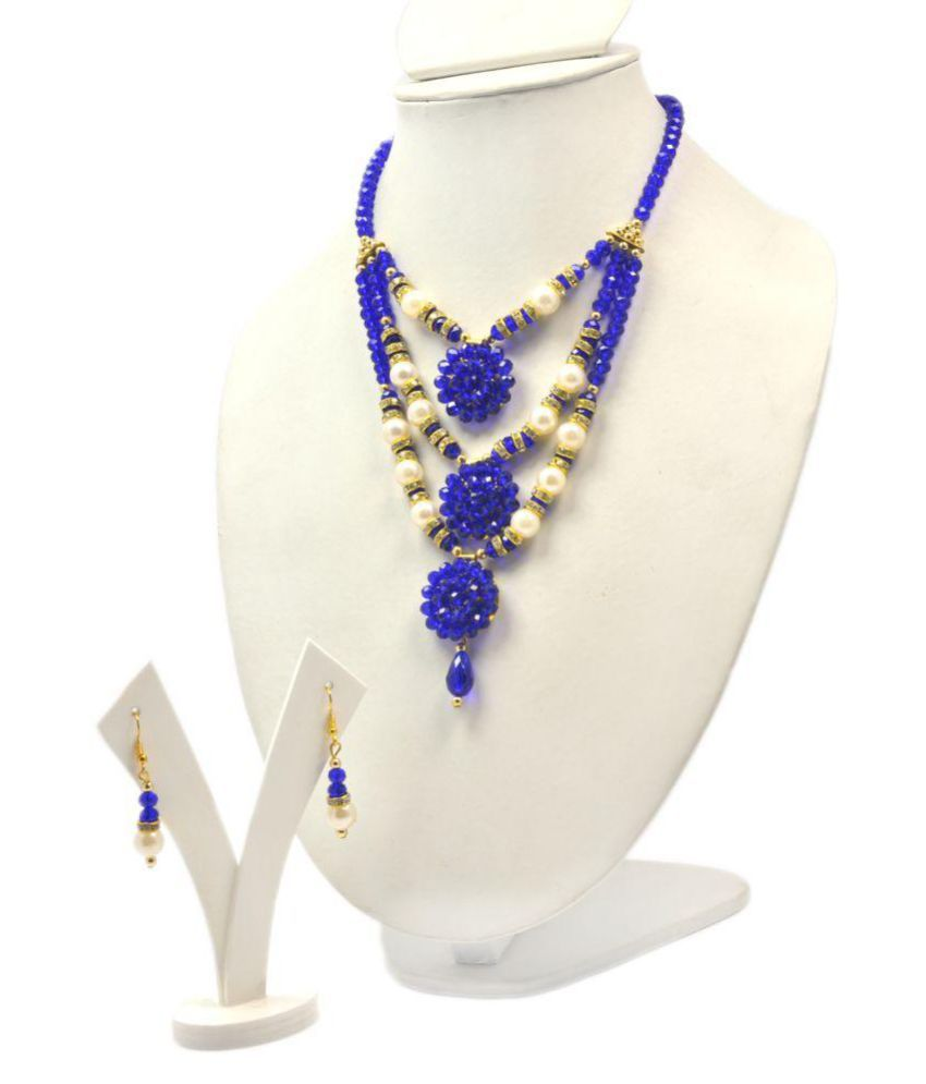 Crystal With Pearl Desinger Necklace Set Women And Girls.