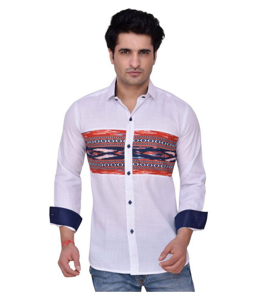 PP Shirts White Casual Regular Fit Shirt