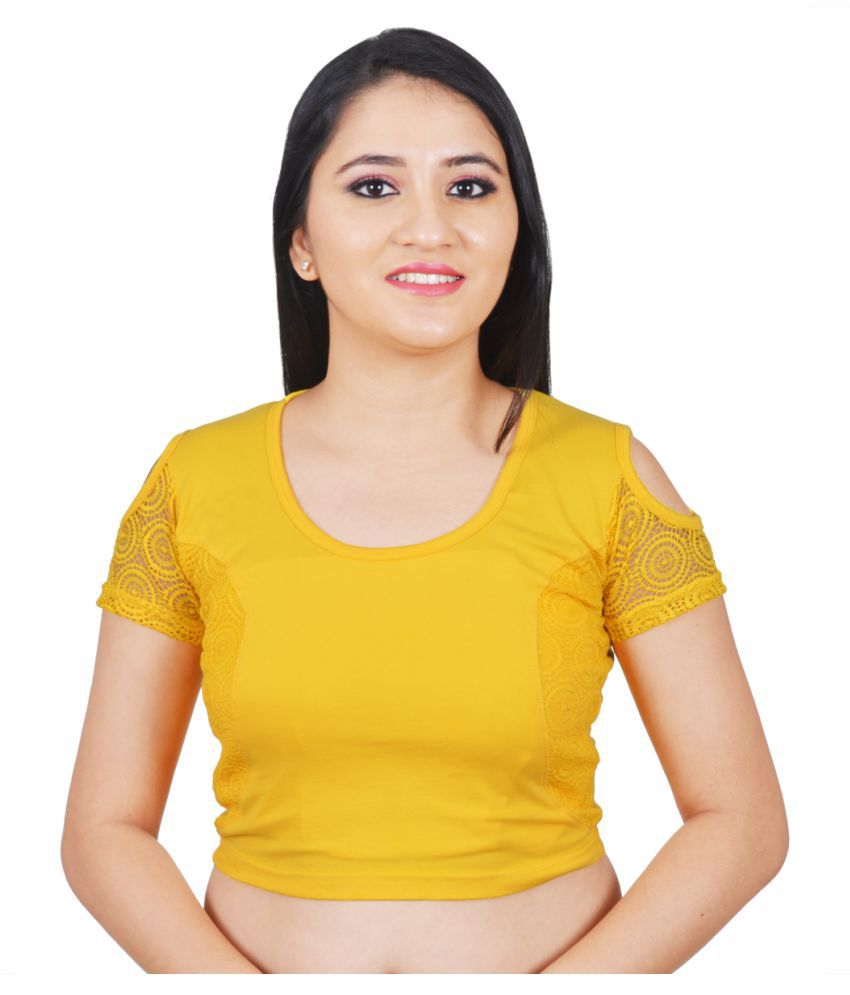 Salwar Studio Yellow Lycra Readymade without Pad Blouse