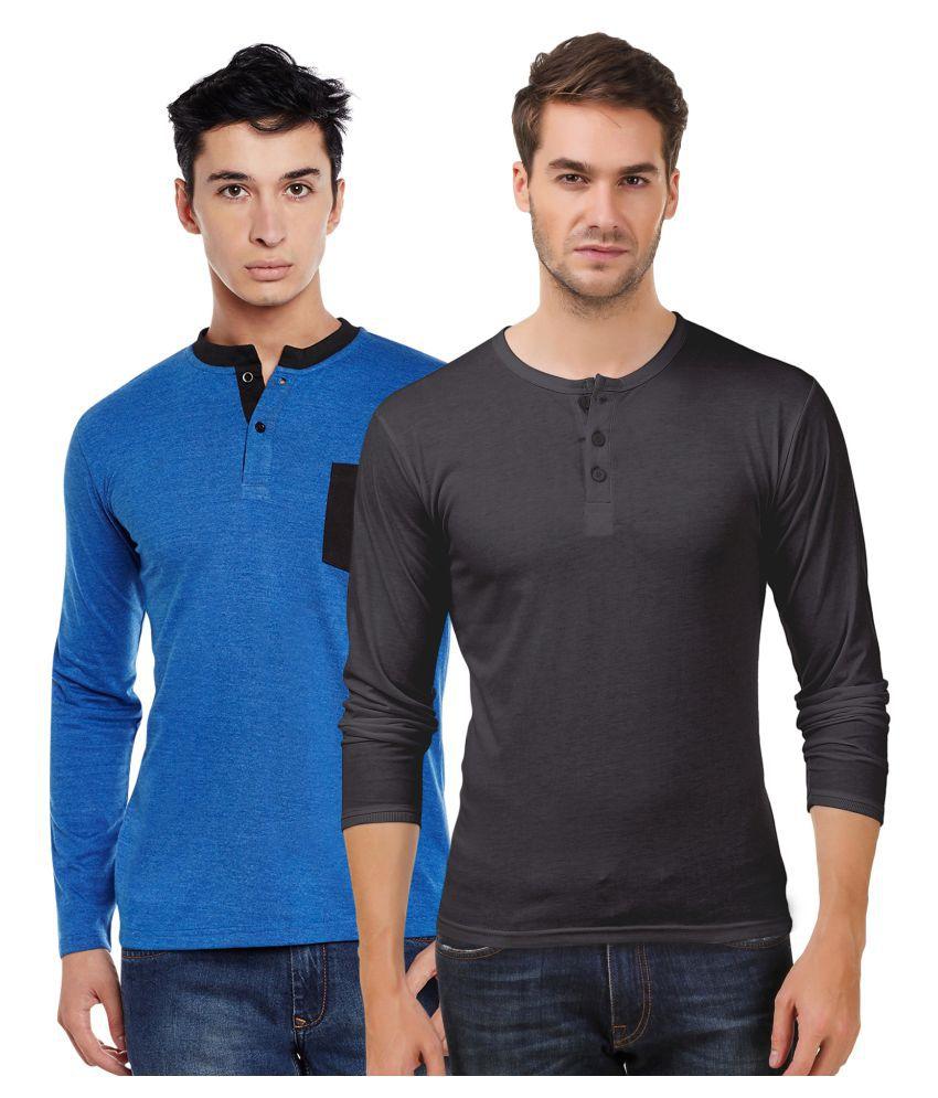 Sen Voler Blue Henley T-Shirt Pack of 2