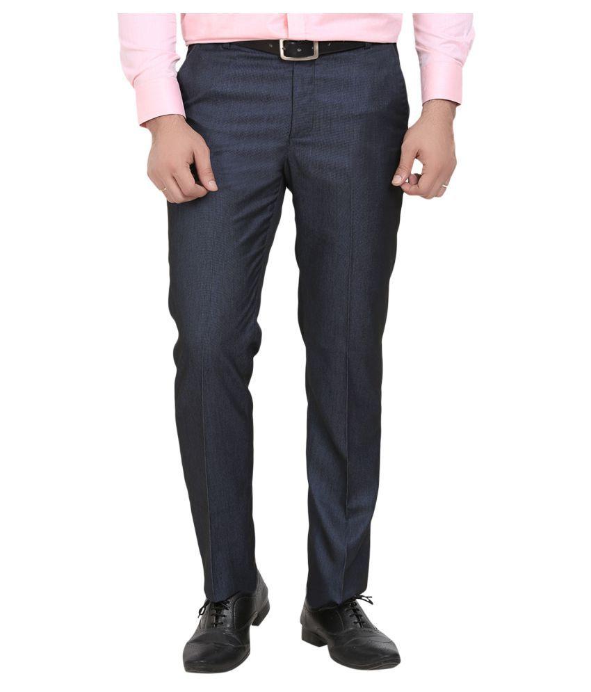 La Mode Blue Regular -Fit Flat Trousers