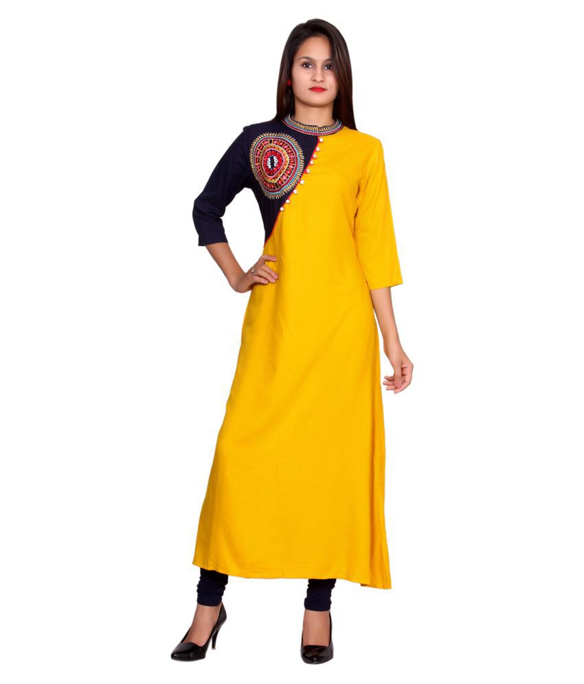 Metro Fashion Yellow Rayon Straight Kurti